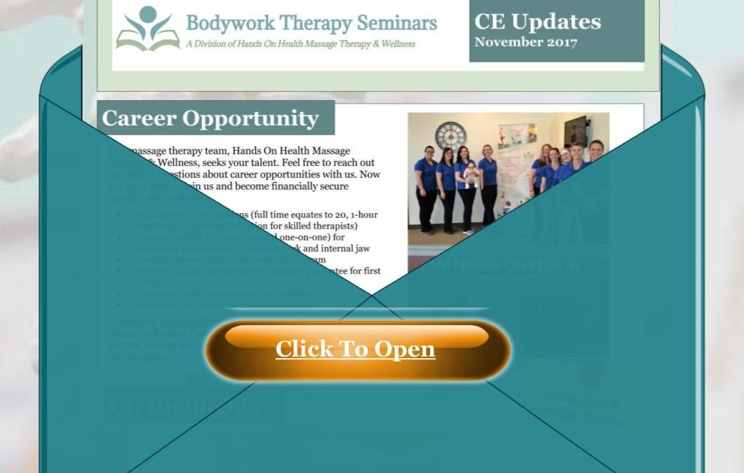 Newsletter – Bodywork Therapy Seminars – jobs and upcoming classes
