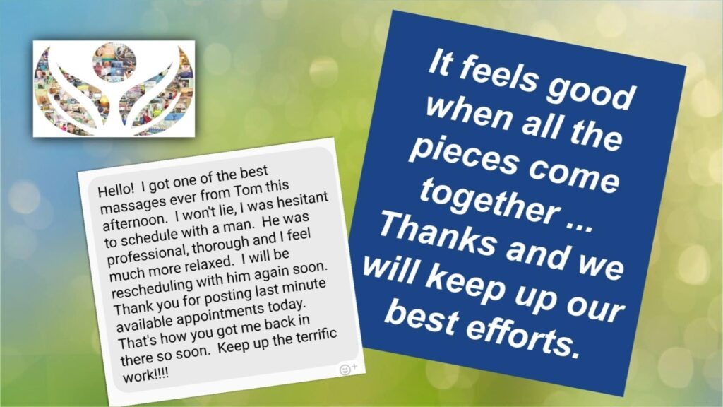 customer testimonial for Tom Maxson medical massage and orthopedic massage